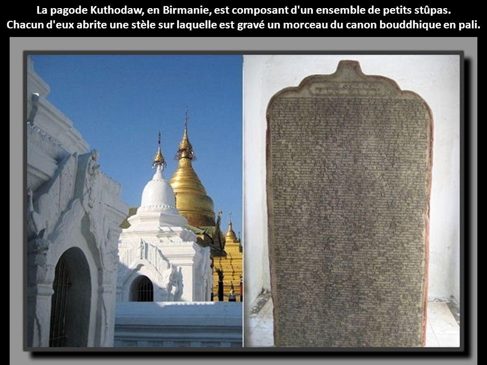La pagode Kuthodaw, en Birmanie, est composant d un ensemble de petits stûpas.