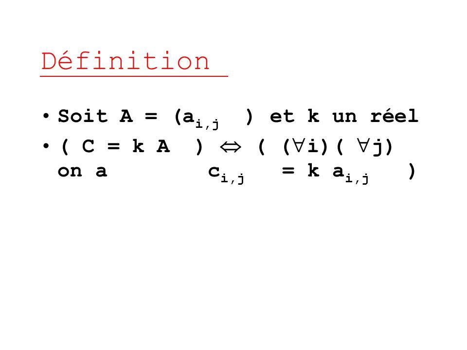 Définition Soit A = (ai,j ) et k un réel