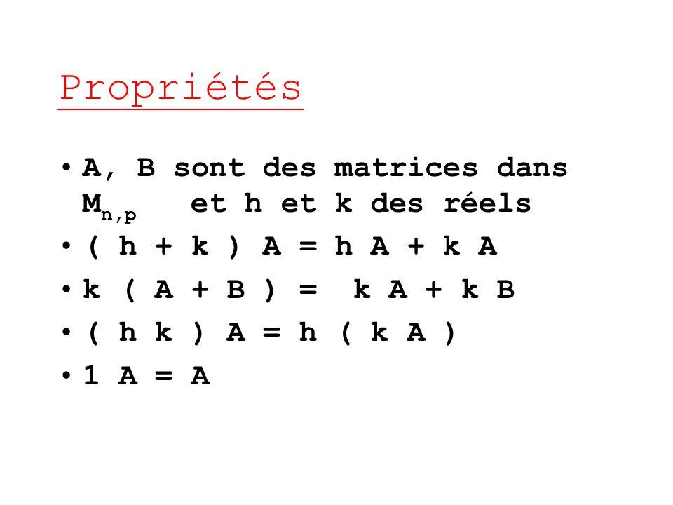 Propriétés A, B sont des matrices dans Mn,p et h et k des réels