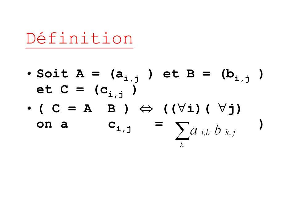 Définition Soit A = (ai,j ) et B = (bi,j ) et C = (ci,j )