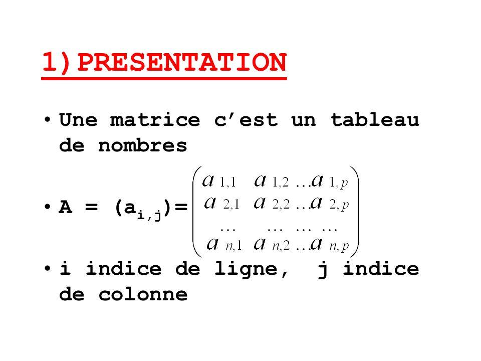 1)PRESENTATION Une matrice c'est un tableau de nombres A = (ai,j)=