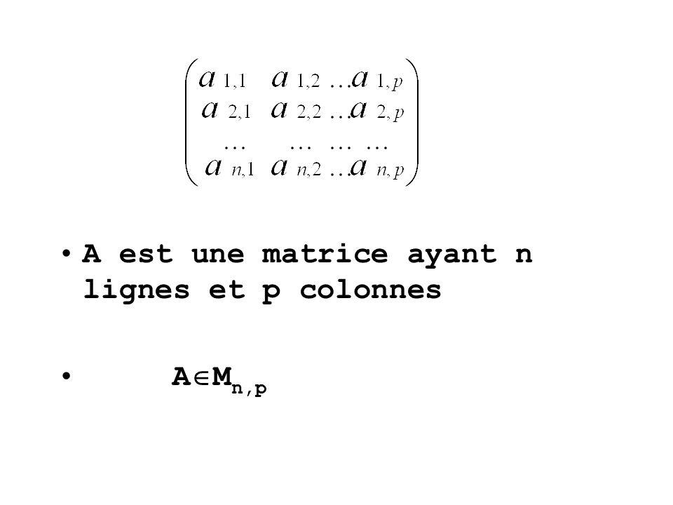 A est une matrice ayant n lignes et p colonnes