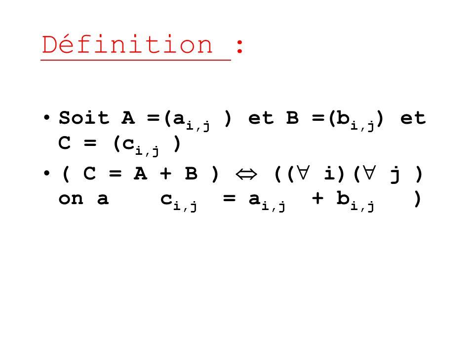 Définition : Soit A =(ai,j ) et B =(bi,j) et C = (ci,j )