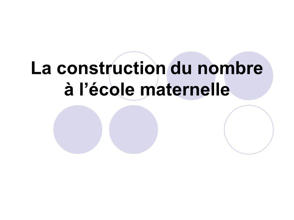 La construction du nombre à l'école maternelle