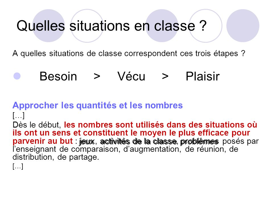 Quelles situations en classe