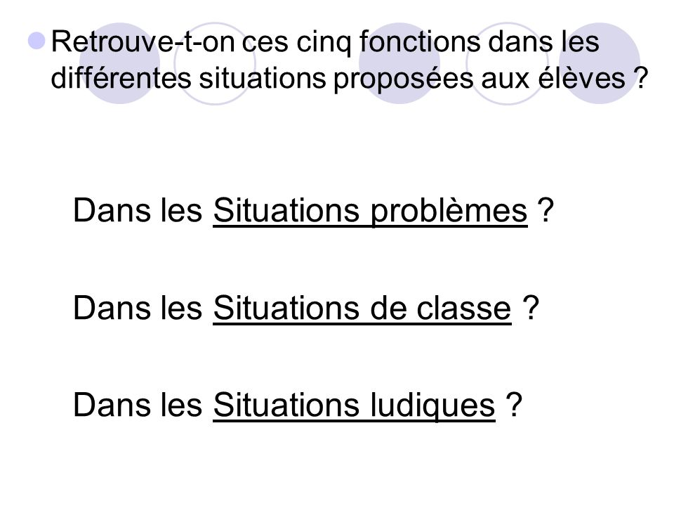 Dans les Situations problèmes Dans les Situations de classe