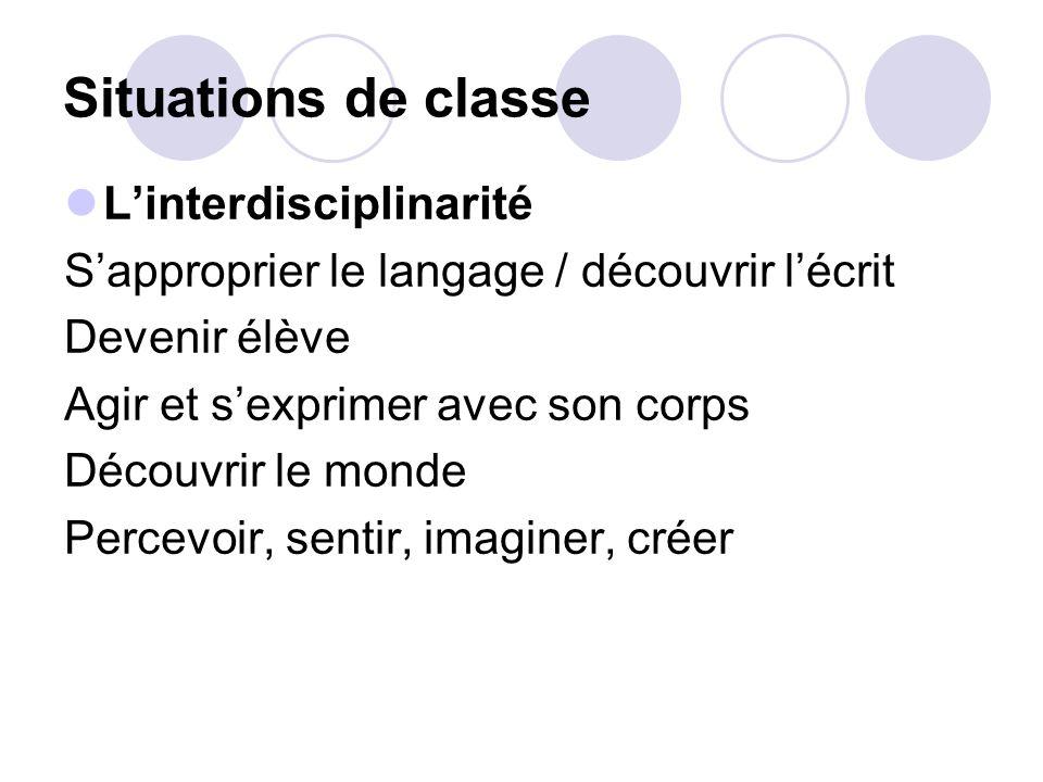 Situations de classe L'interdisciplinarité