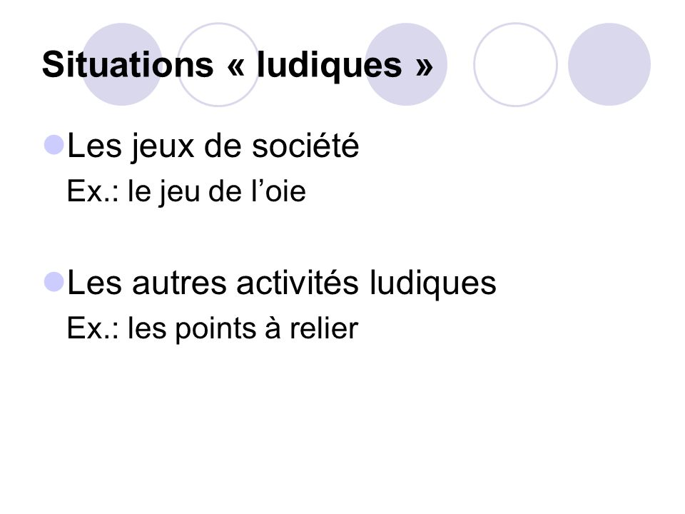 Situations « ludiques »
