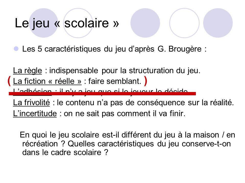 Le jeu « scolaire » Les 5 caractéristiques du jeu d'après G. Brougère : La règle : indispensable pour la structuration du jeu.