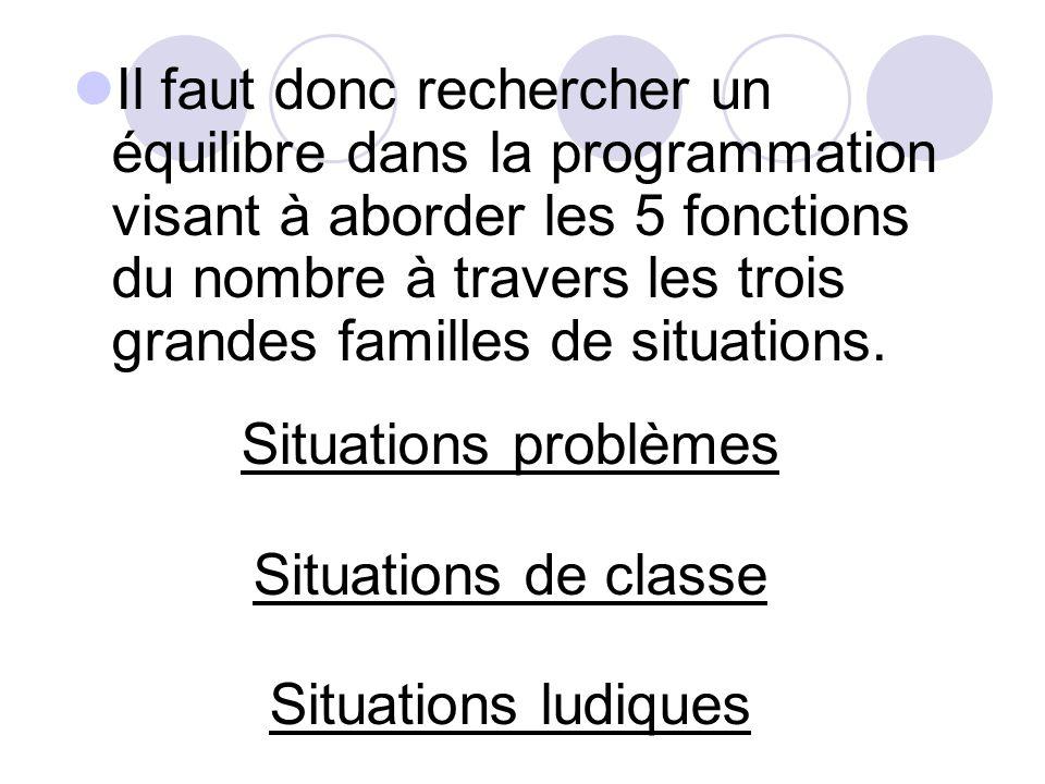 Il faut donc rechercher un équilibre dans la programmation visant à aborder les 5 fonctions du nombre à travers les trois grandes familles de situations.