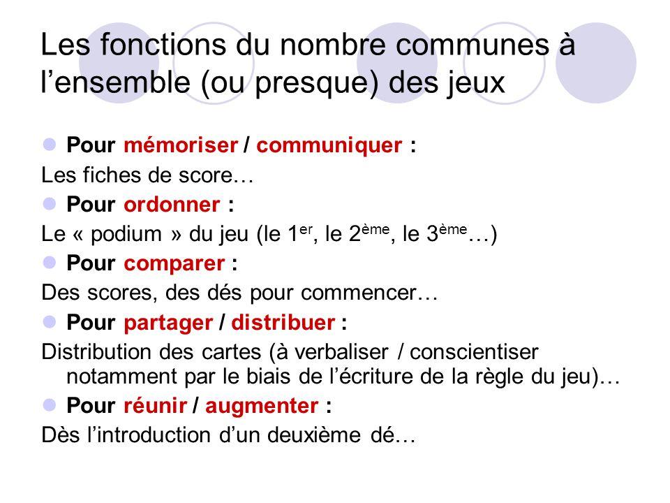 Les fonctions du nombre communes à l'ensemble (ou presque) des jeux