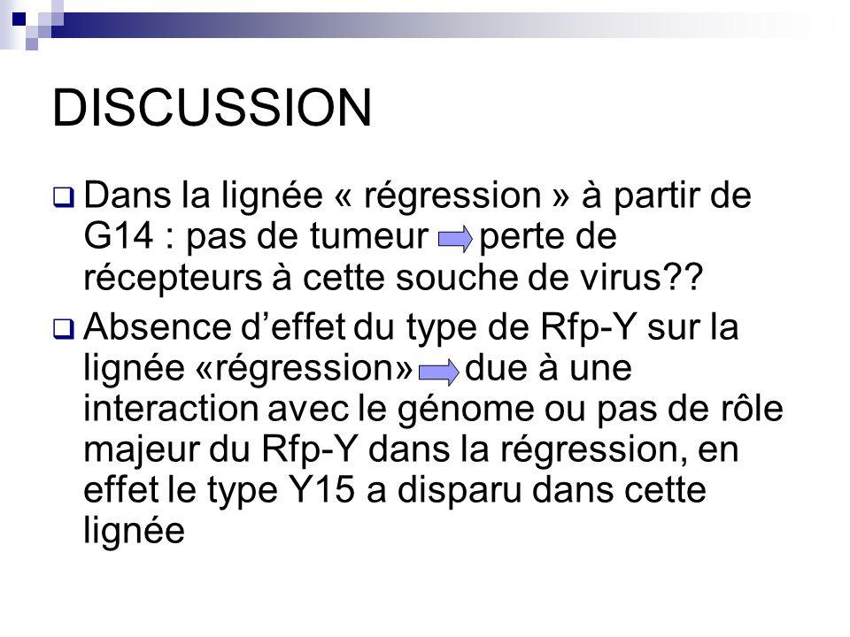 DISCUSSION Dans la lignée « régression » à partir de G14 : pas de tumeur perte de récepteurs à cette souche de virus