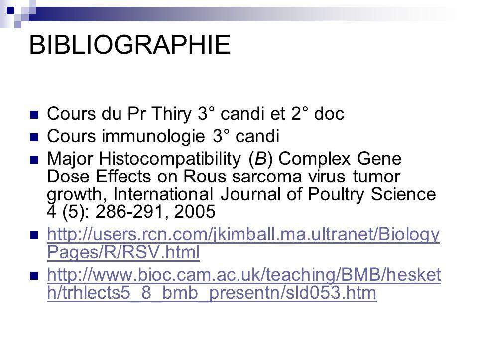 BIBLIOGRAPHIE Cours du Pr Thiry 3° candi et 2° doc