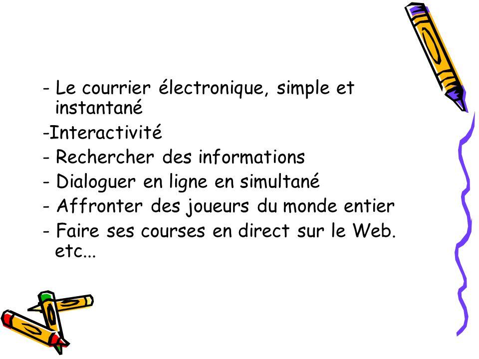 - Le courrier électronique, simple et instantané