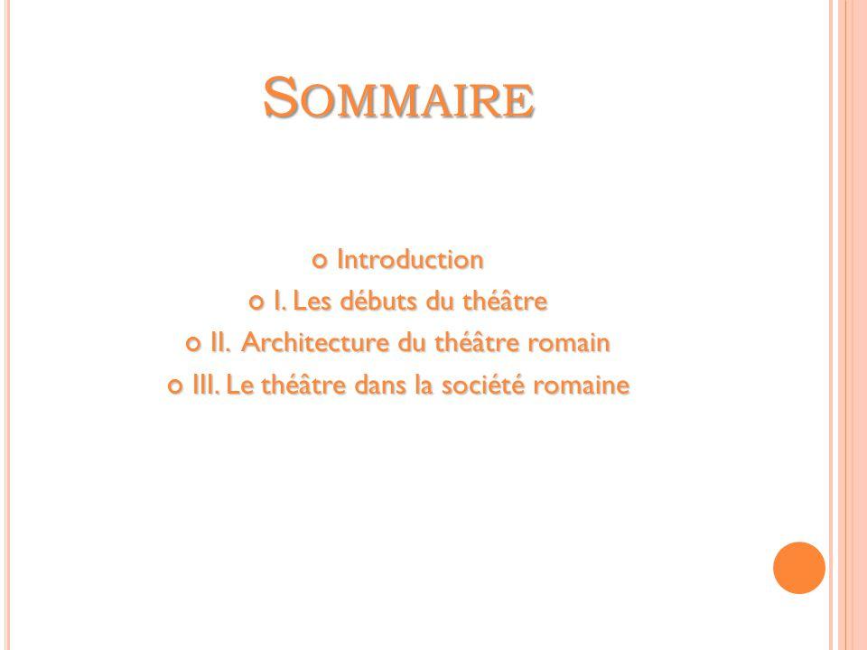 Sommaire Introduction I. Les débuts du théâtre