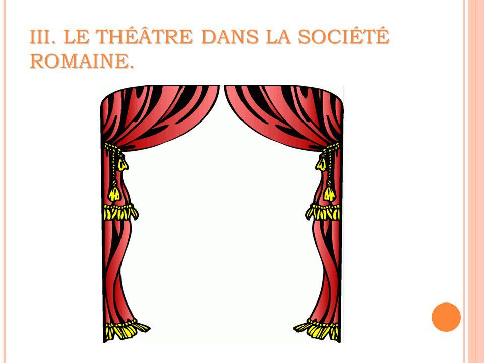 III. LE THÉÂTRE DANS LA SOCIÉTÉ ROMAINE.