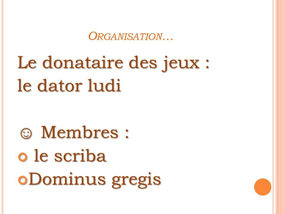Le donataire des jeux : le dator ludi ☺ Membres : le scriba