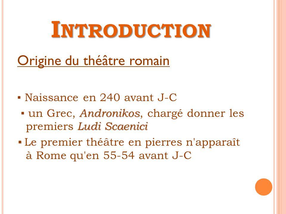 Introduction Origine du théâtre romain ▪ Naissance en 240 avant J-C