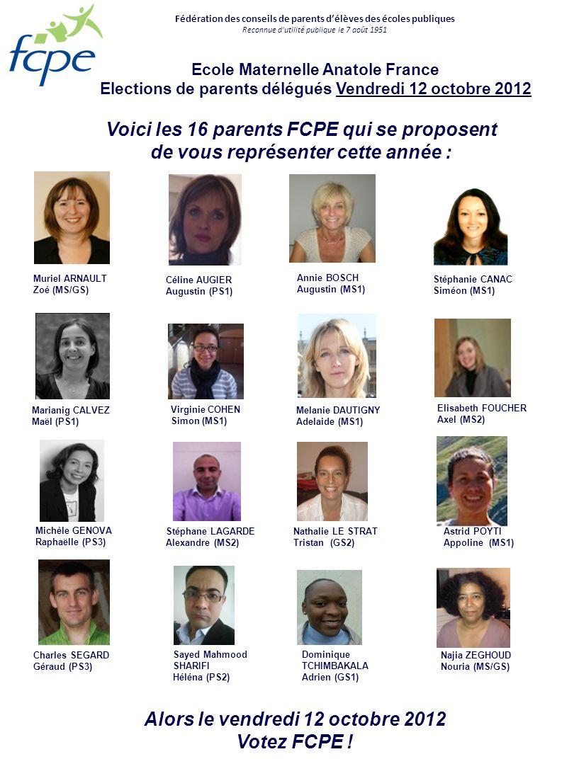 Voici les 16 parents FCPE qui se proposent
