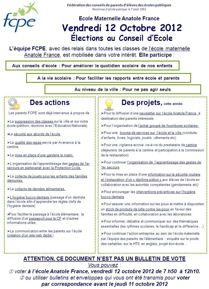 Vendredi 12 Octobre 2012 Élections au Conseil d'Ecole Des actions