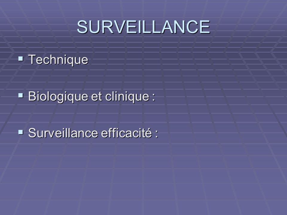 SURVEILLANCE Technique Biologique et clinique :