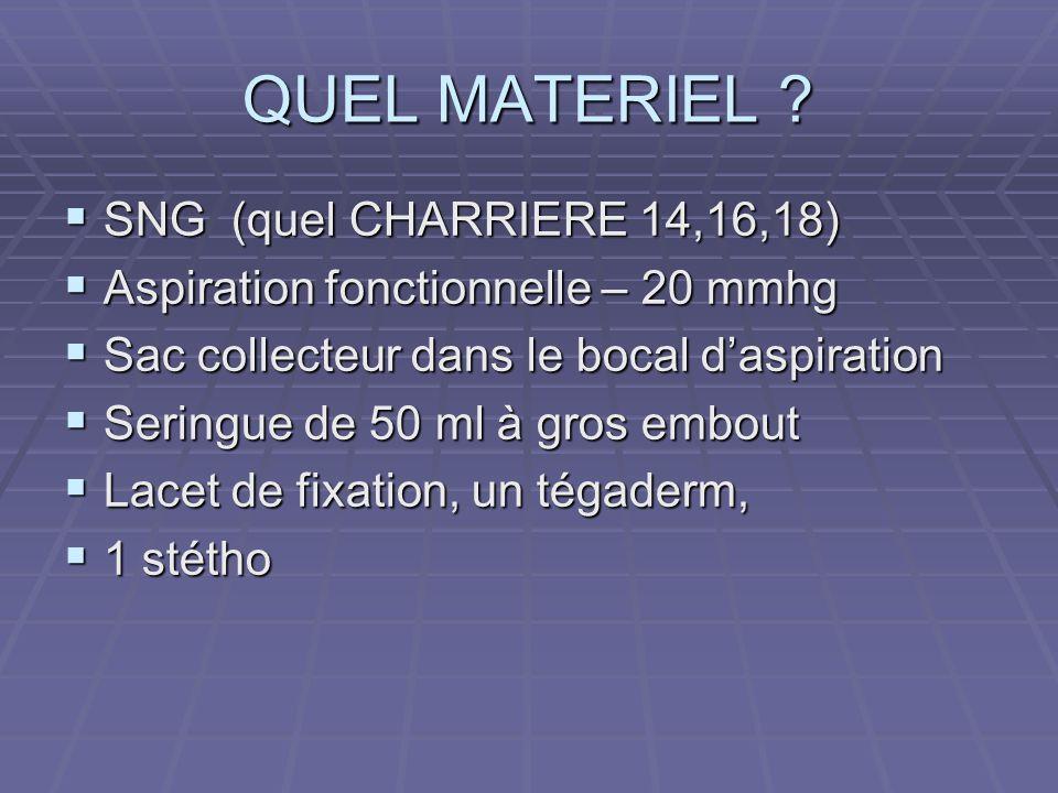 QUEL MATERIEL SNG (quel CHARRIERE 14,16,18)