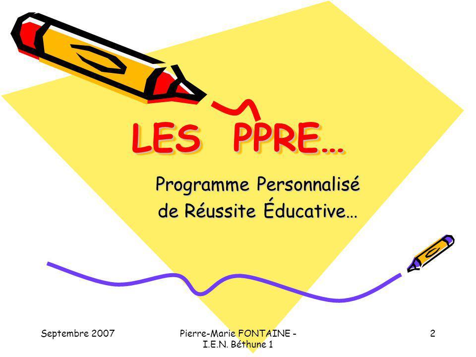 Programme Personnalisé de Réussite Éducative…