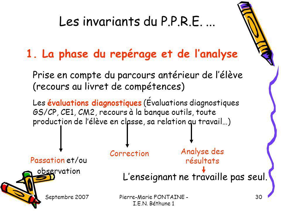 Les invariants du P.P.R.E. ... 1. La phase du repérage et de l'analyse