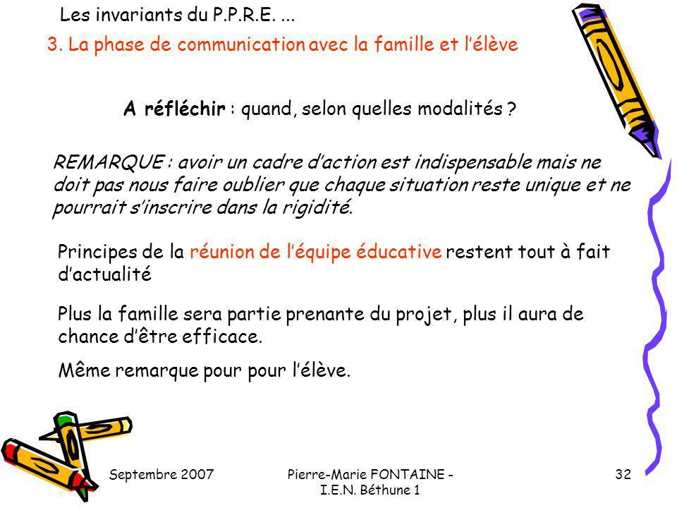3. La phase de communication avec la famille et l'élève