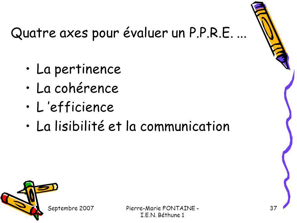 Quatre axes pour évaluer un P.P.R.E. ...
