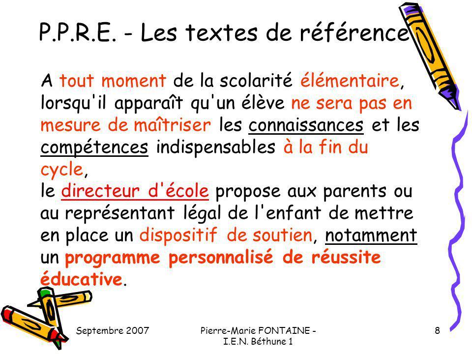 P.P.R.E. - Les textes de référence