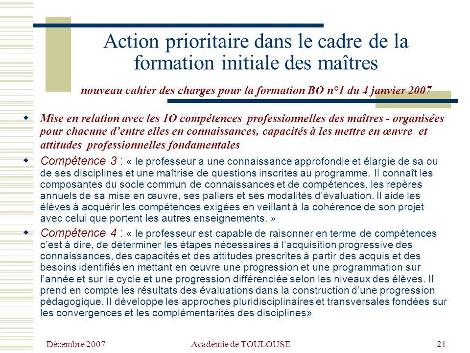 Action prioritaire dans le cadre de la formation initiale des maîtres nouveau cahier des charges pour la formation BO n°1 du 4 janvier 2007