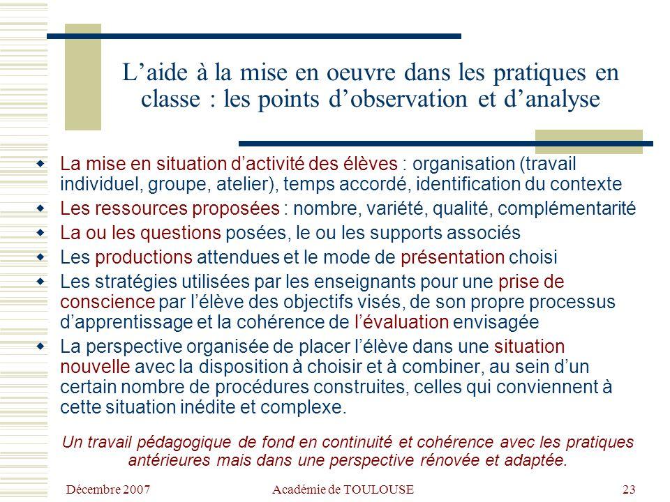 L'aide à la mise en oeuvre dans les pratiques en classe : les points d'observation et d'analyse