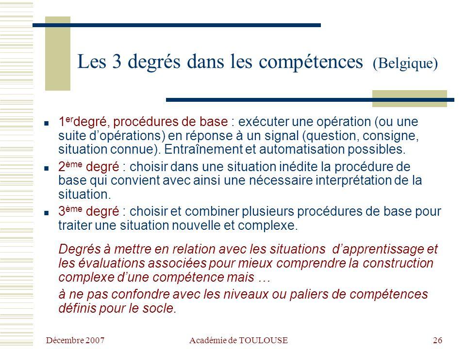 Les 3 degrés dans les compétences (Belgique)