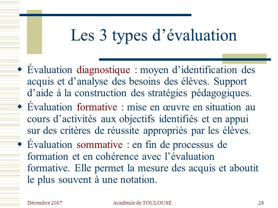 Les 3 types d'évaluation