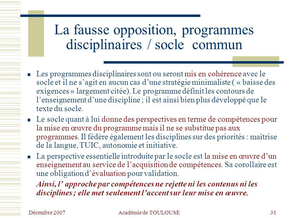La fausse opposition, programmes disciplinaires / socle commun