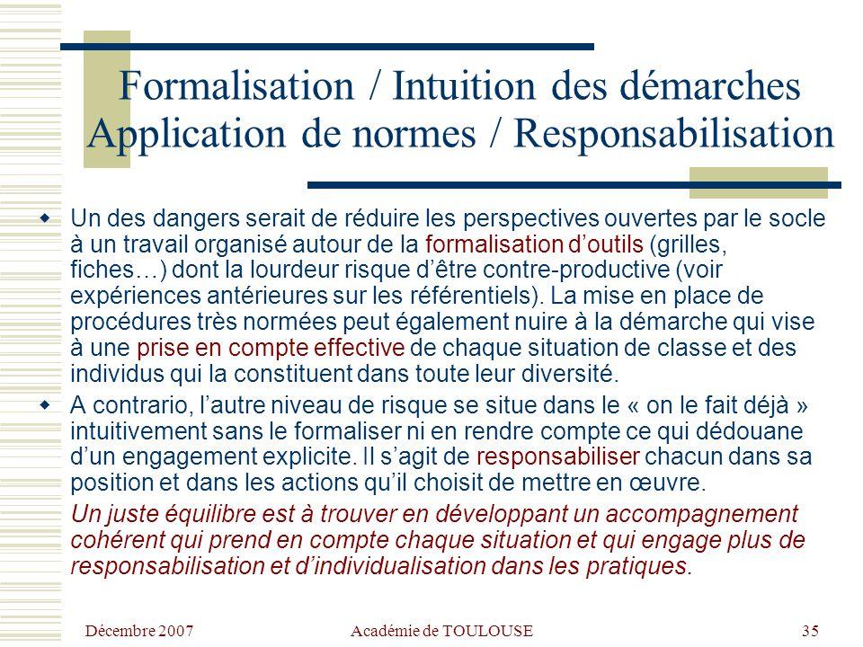 Formalisation / Intuition des démarches Application de normes / Responsabilisation