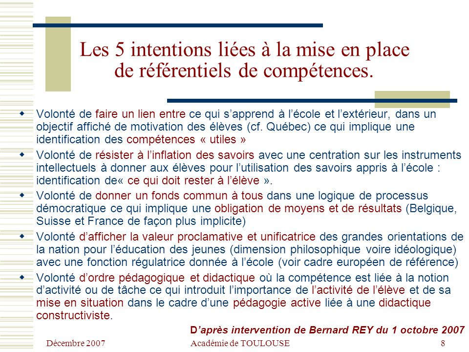 Les 5 intentions liées à la mise en place de référentiels de compétences.