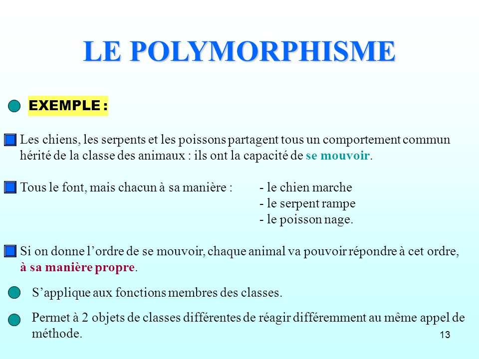 LE POLYMORPHISME EXEMPLE :