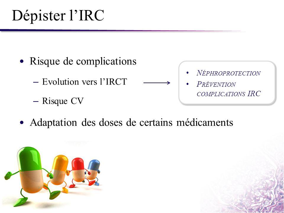 Dépister l'IRC Risque de complications