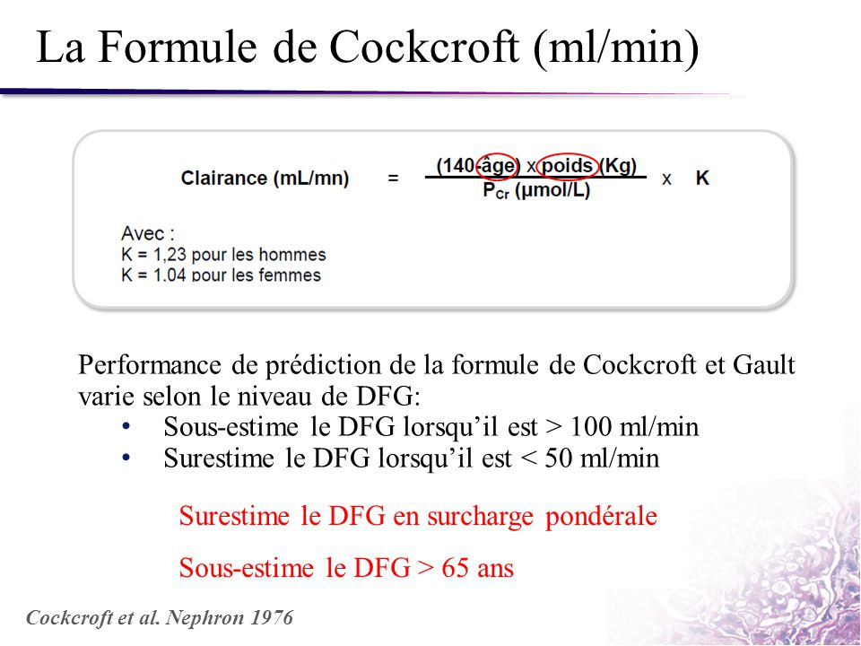 La Formule de Cockcroft (ml/min)