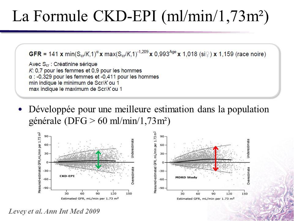 La Formule CKD-EPI (ml/min/1,73m²)