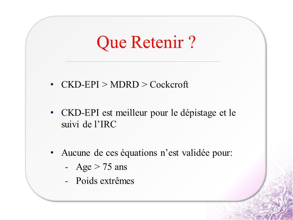 Que Retenir CKD-EPI > MDRD > Cockcroft