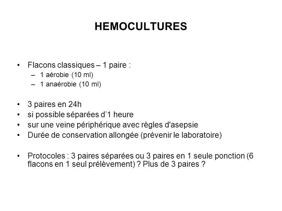 HEMOCULTURES Flacons classiques – 1 paire : 3 paires en 24h