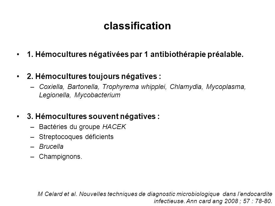 classification 1. Hémocultures négativées par 1 antibiothérapie préalable. 2. Hémocultures toujours négatives :