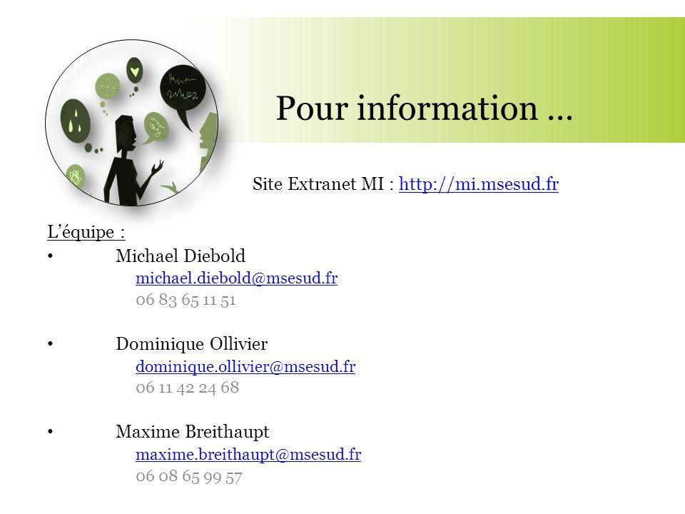 Pour information … Site Extranet MI : http://mi.msesud.fr L'équipe :