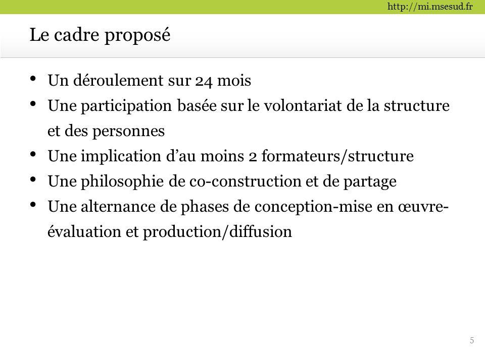 Le cadre proposé Un déroulement sur 24 mois