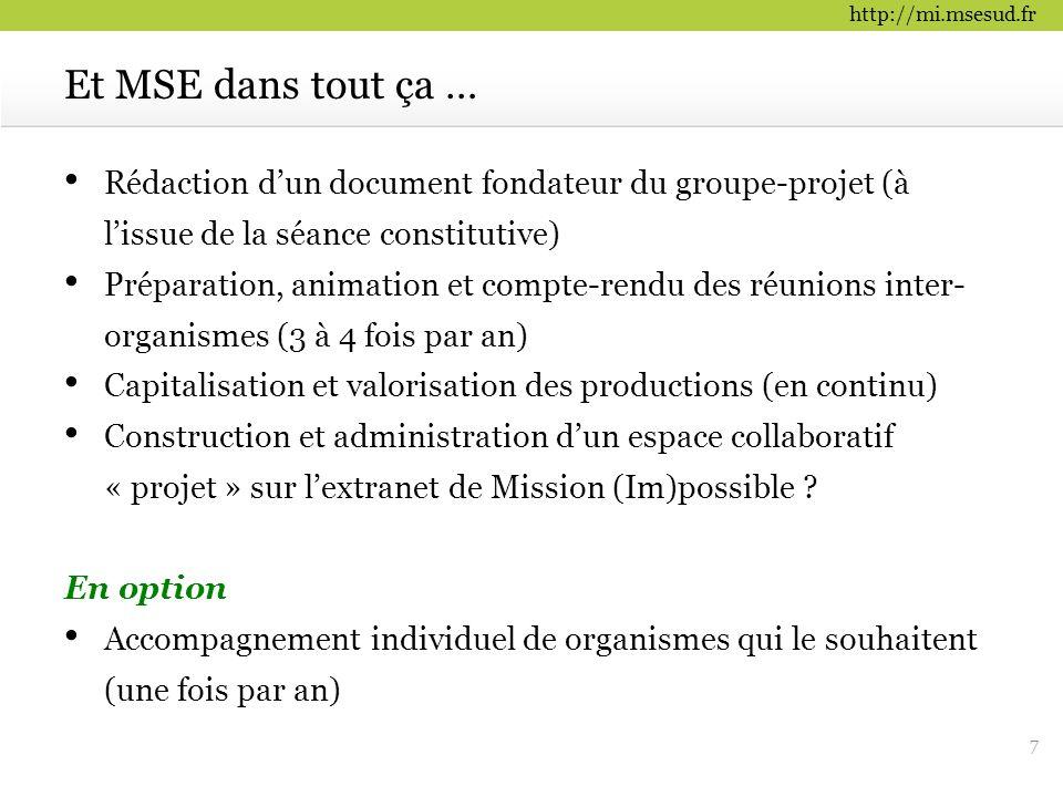 Et MSE dans tout ça … Rédaction d'un document fondateur du groupe-projet (à l'issue de la séance constitutive)