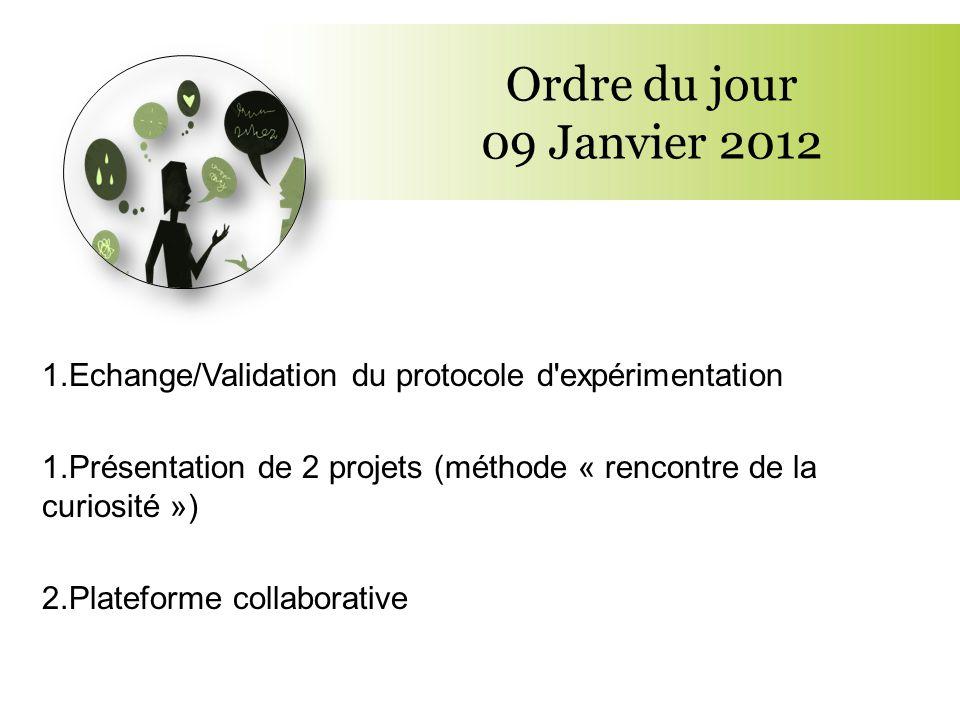 Ordre du jour 09 Janvier 2012 Echange/Validation du protocole d expérimentation. Présentation de 2 projets (méthode « rencontre de la curiosité »)