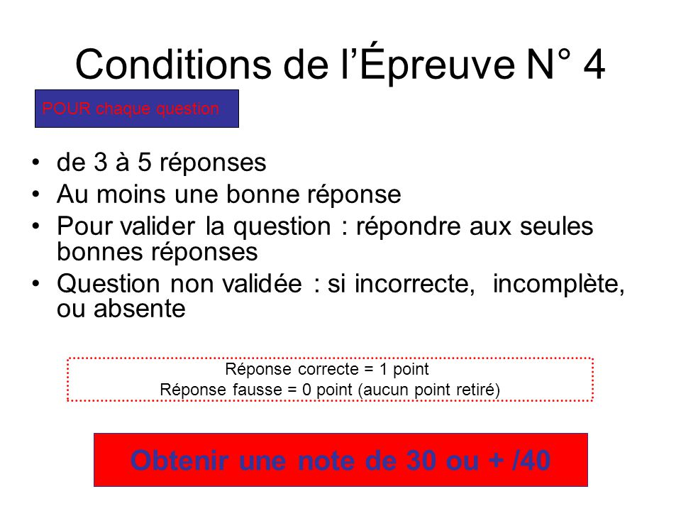 Conditions de l'Épreuve N° 4